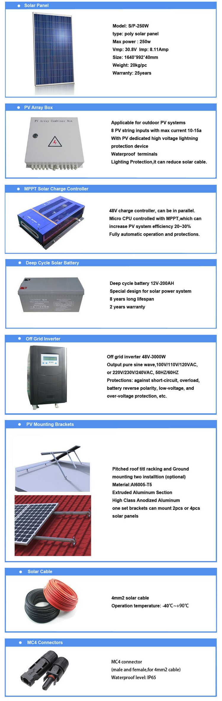 Off grid 3000W solar system for home from factory in China