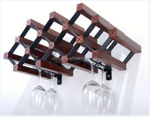 Special Home Decor Wall Wood 9 Bottle Wine Racks Wine Bar For sale