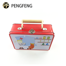 Wholesale custom tin box packaging cartoon printted tin lunch box with handle