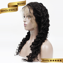 100% Human hair Virgin Peruvian Front Lace Deep Wave Full Lace Wig With Baby Hair