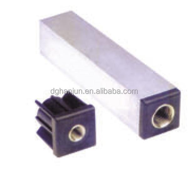Aluminum square tube connector h small plastic