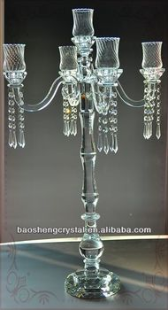 Hot ! Multifunctional 5 Arms Crystal Candelabra with square candleholders for Wedding (BS-CH044C)