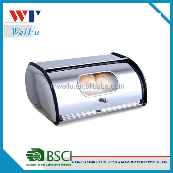 Hot selling stainless steel bread box with window