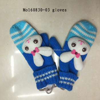 Hot selling personalized rubbit winter hand gloves keep warm for kids