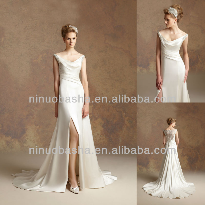 J-032 Satin Open Fork Front Skirt Wedding Dress 2012 Sheath Bridal Dress Prom Gown