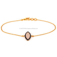 New Design Custom Rose Chalcedony Bracelet, Yellow Gold Plated Silver Chain Bracelets