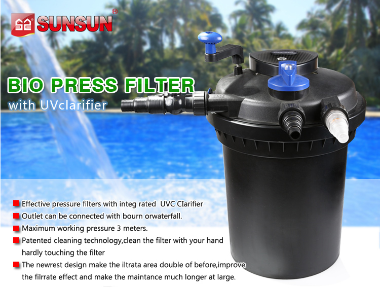 Sunsun plastic pond filter canister with uv bio ball for Pond filter sponges