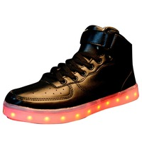 2016 Fashion low MOQ wholesales factory price high black led light shoes
