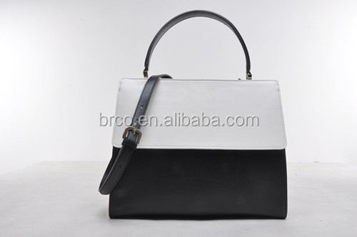 branded classical design white and black women cow skin leather bags handbag