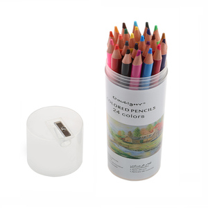 personalized 24 pcs colored pencils poplar wood pencil set in tube