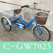"C-GW7023wholesale shopping china adult tricycle with cabin/light weight adult tricycle 20"" wheel rear/custom single speed pedica"