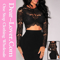 Latest Black Sheer Lace Long Sleeves Fancy Crop Tops for Women 2015