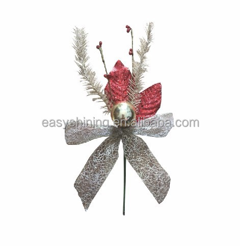 Seasonal Decorative Christmas Glitter Ball Pick and spray With bow And ball ESH0151