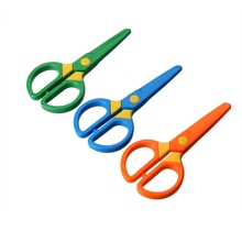 High quality Plastic Office Safety scissors for kids safety plastic scissors for kids children cutting scissors 3 colors