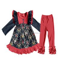 Christmas Fall and Winter Boutique Clothing Black and Red Popular Remark Clothes set