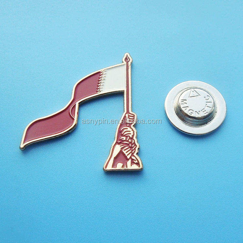 gold tone magnetic Qatar national day flag lapel pin - Qatar patriotic magnet badges