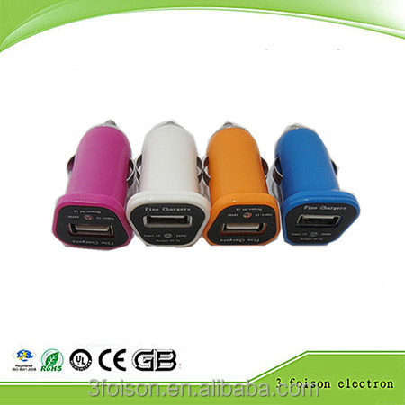 Hot sale colorful promotional high speed bullet car charger with usb and light for cell phone 5V 1A output