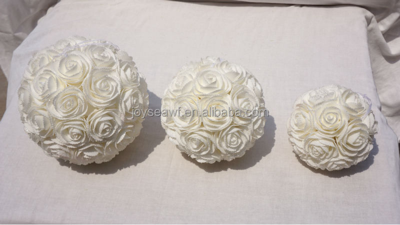 romantic flower ball rose artificial PE foam flowers, silk flowers with silk ribbon