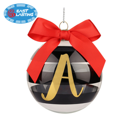 Vintage monogram Christmas glass ornament for tree hanging decor, personalized glass ball wholesale