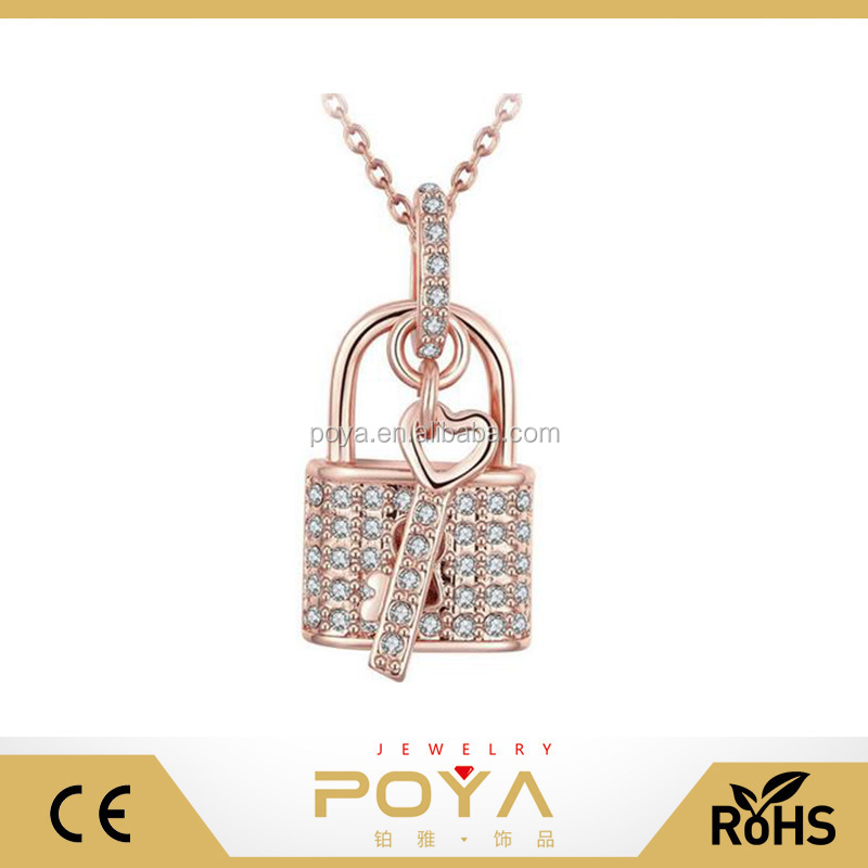 POYA Jewelry New Design Gold Pendant ,Couple Pendant Diamond Necklace, Lock And Key Pendant Curb Chain Necklace