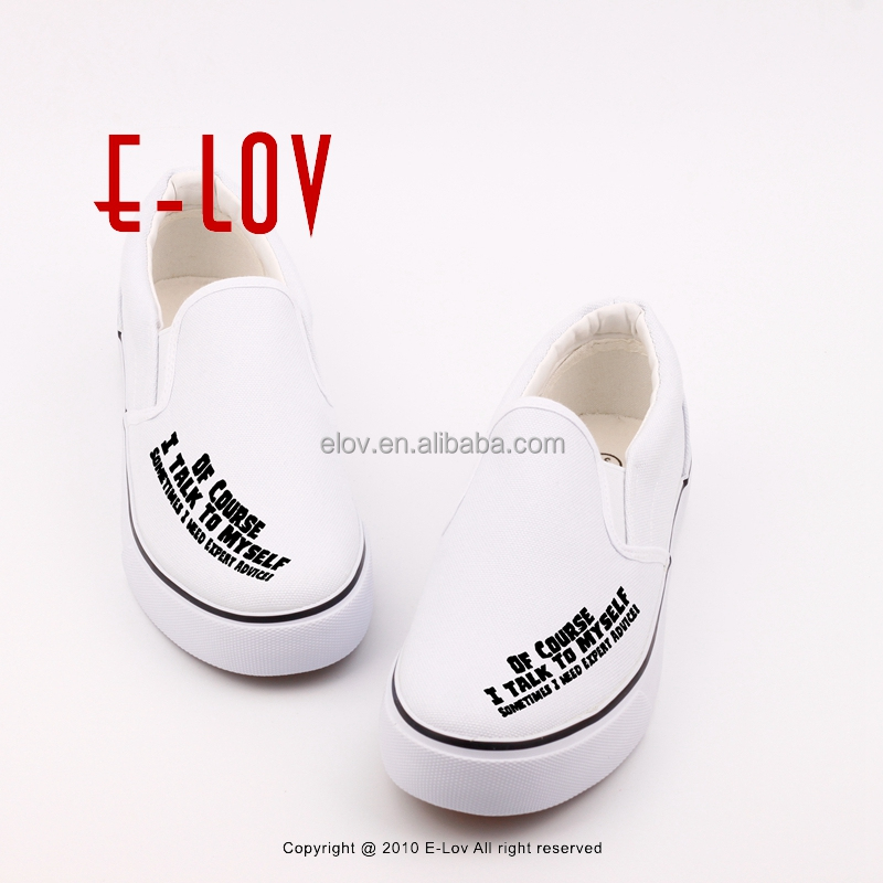 Low end shoes manufacturer print white loafers no lace shoes T-WHL28