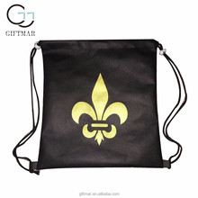 promotional drawstring backpack type black non woven bag