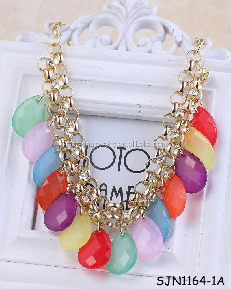 Colorer Drop Plastic Bead Necklace For Kids
