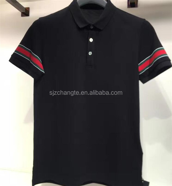 High quality men's solid plain polo 100% cotton t shirt black polo shirt
