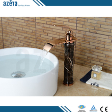 High Body Countertops Black Stone Rose Gold Artistic Single Handle Bathroom Brass Wash Basin Faucet