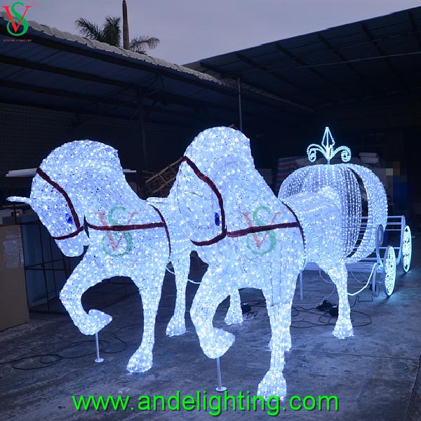 Christmas Lighted Horse Carriage Outdoor Decoration : D sculpture light horse carriage pumpkin decoration