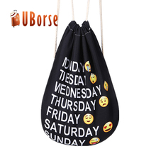Lightweight emoji rucksack drawstring backpack gym sack drawstring bag for men & women & kids travel backbag