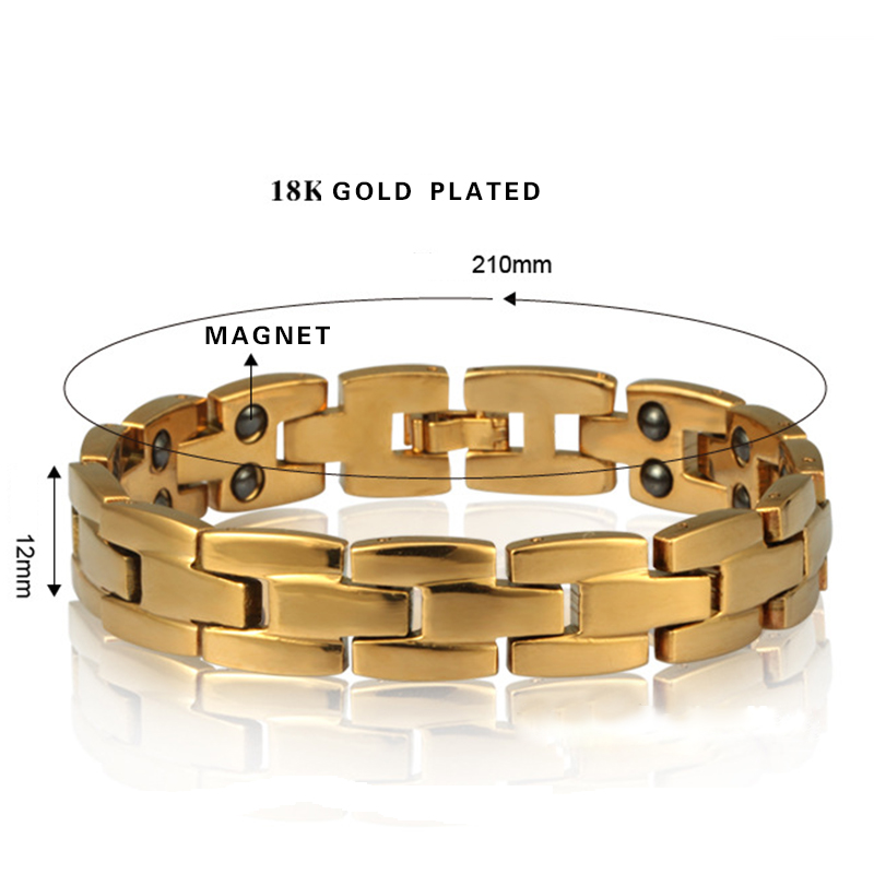 Luxury Gold plated Bangle Jewelry Antifatigue Magnet Single Double Line Copper Pieces Linked bangle Bracelets For Men Jewelry
