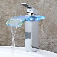 Hot sale deck mounted single handle color change led glass waterfall basin faucet
