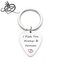 I Pick You Always and Forever I Pick you Stainless Steel Guitar Pick Key chain Musical Gift