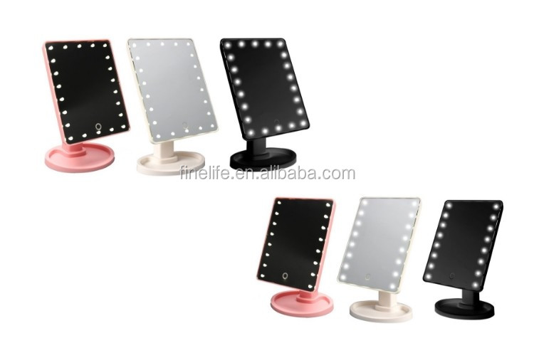 Desktop LED makeup mirror with 22 led lights and Touch Screen smart dimming