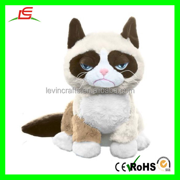 M312 Stuffed Sitting Grumpy Plush Cat