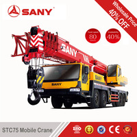 SANY STC75 75 Tons Used Truck Mounted Crane of 2010 Year of Hoist Crane with EURO III
