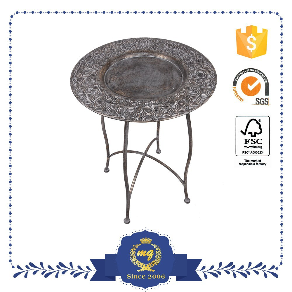 Dinning Room Black Round Big Coffee Or Tea Metal Table