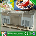 Best seller with temperature control fry flat pan fried ice cream machine double pan