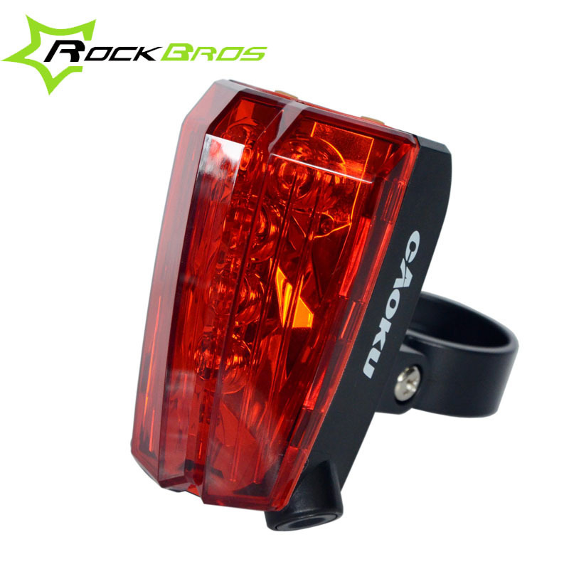 ROCKBROS hoyou Bike Cycling Rain-proof ABS Tail Light Bicycle Rear Warning Light 5 Leds & 2 Laser Beams,Bicycle Accessories