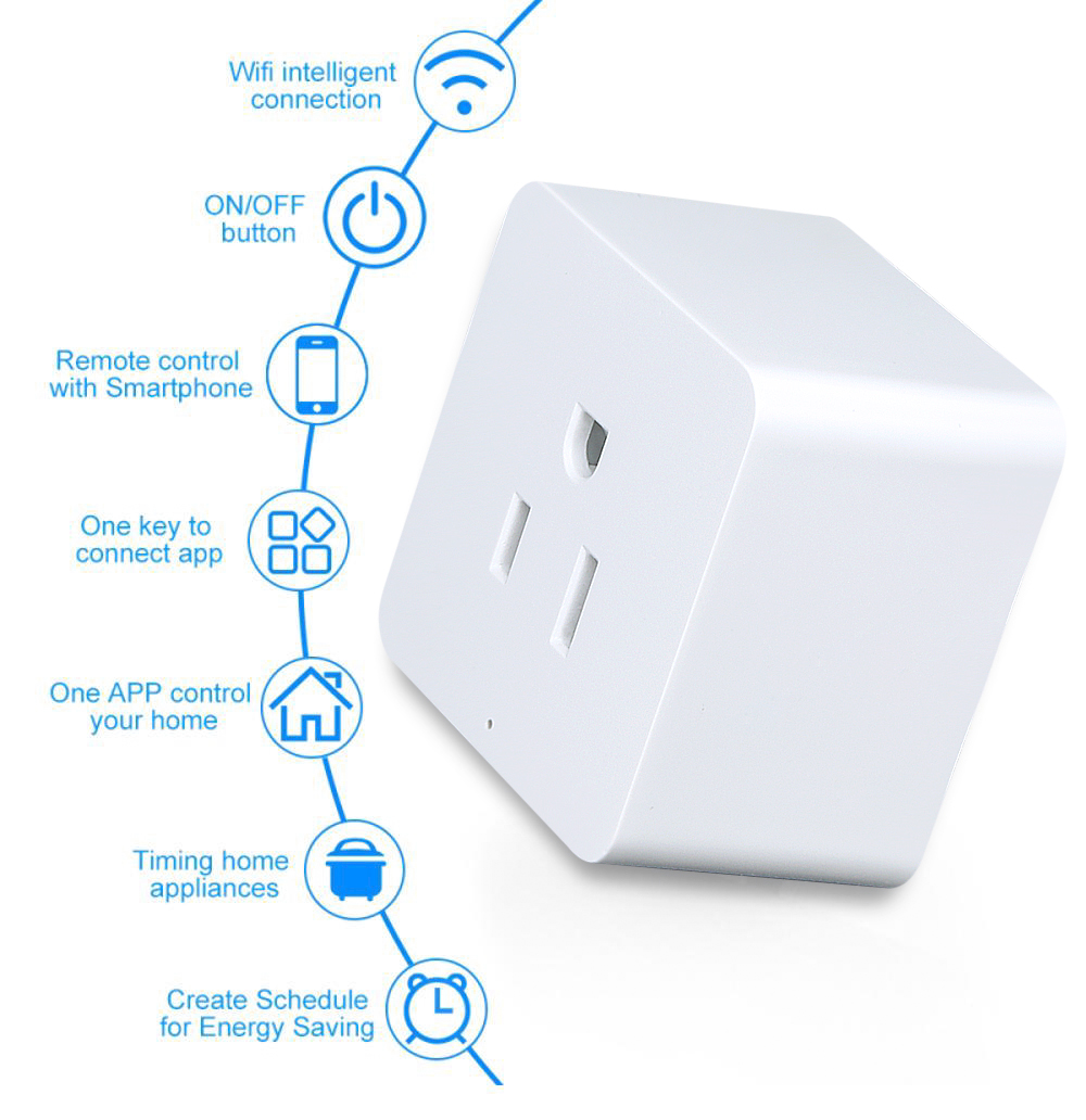 Hot sale APP wireless control switch remote network control appliances mini smart socket wifi power plug