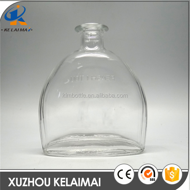 720ml clear flat half round shape wine glass bottle wholesale