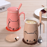 Hot sale Cartoon ceramic cups with cover with a spoon lovers mugs creative lovely porcelain cup of milk coffee cup