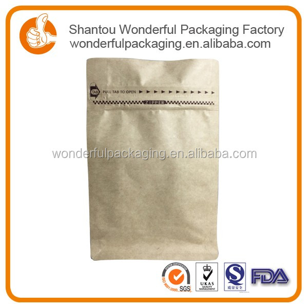 Diverse size brown ziplock stand up kraft paper bag for coffee bean
