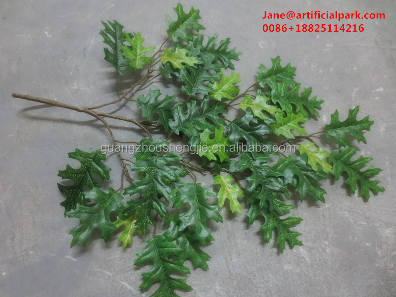 Hot sales cheap artificial fake oak tree leave sale for decoration/decorative artificial fake oak tree leaf made in China