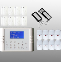 Wireless frequency 433/868 mhz LCD display backup battery gsm sms based security alarm system with APP control