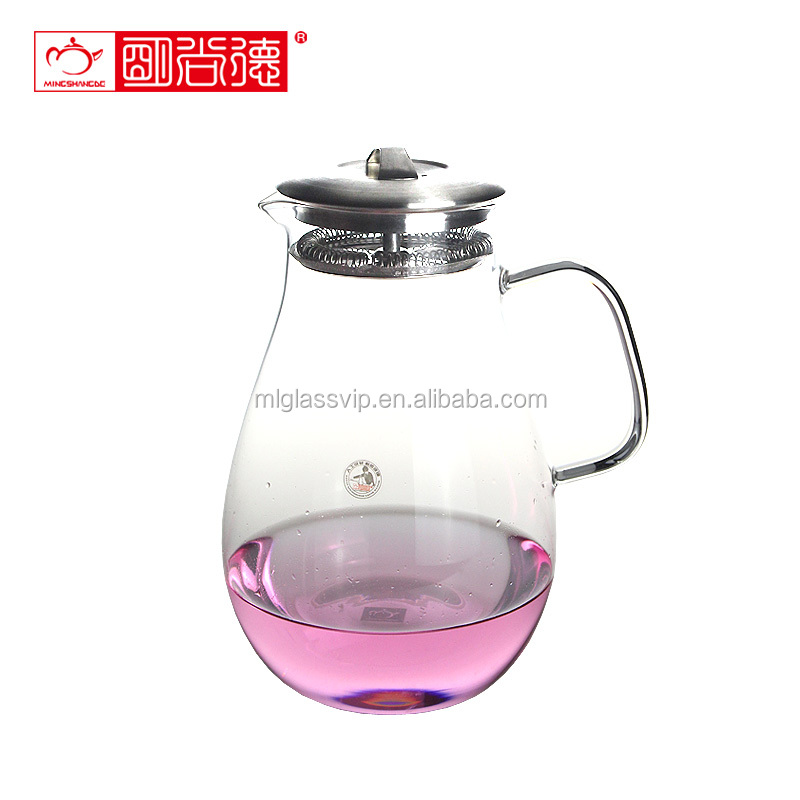 China factory wholesale 1200ml handblown high borosilicate glass kettle