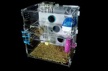 Clear handmade acrylic hamster cage with ventilator