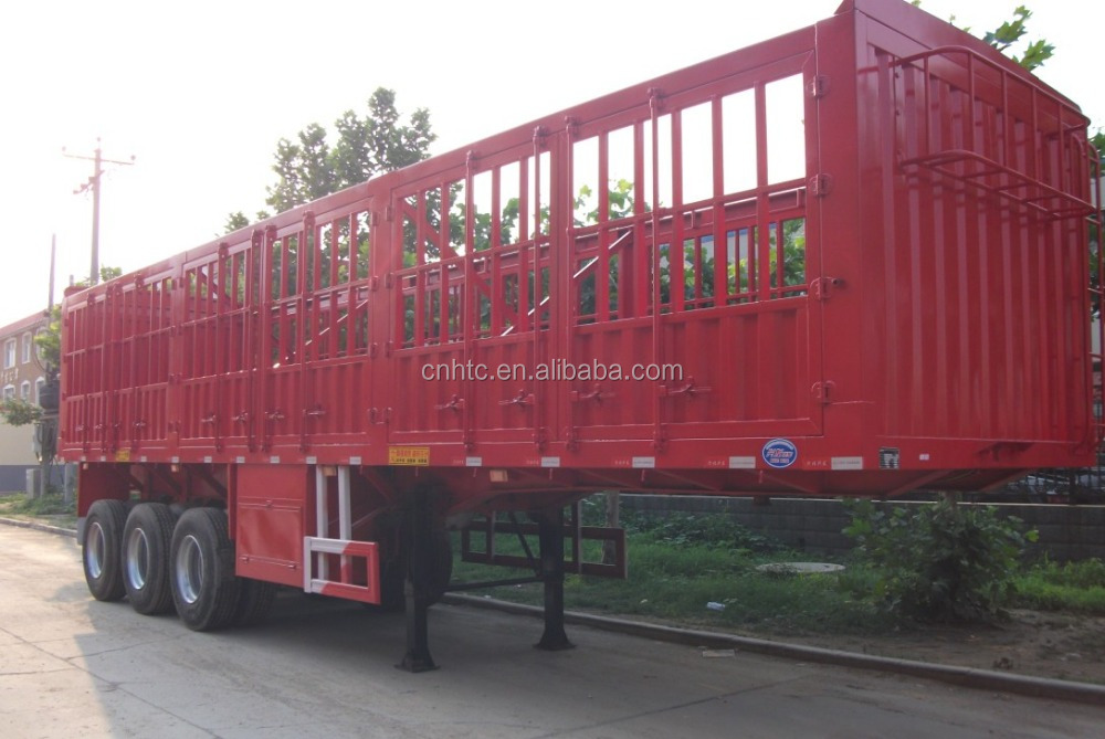 Van Type Station Transport truck trailer 3 axles coal carrier Wagon Box Truck Cargo Semi Trailer