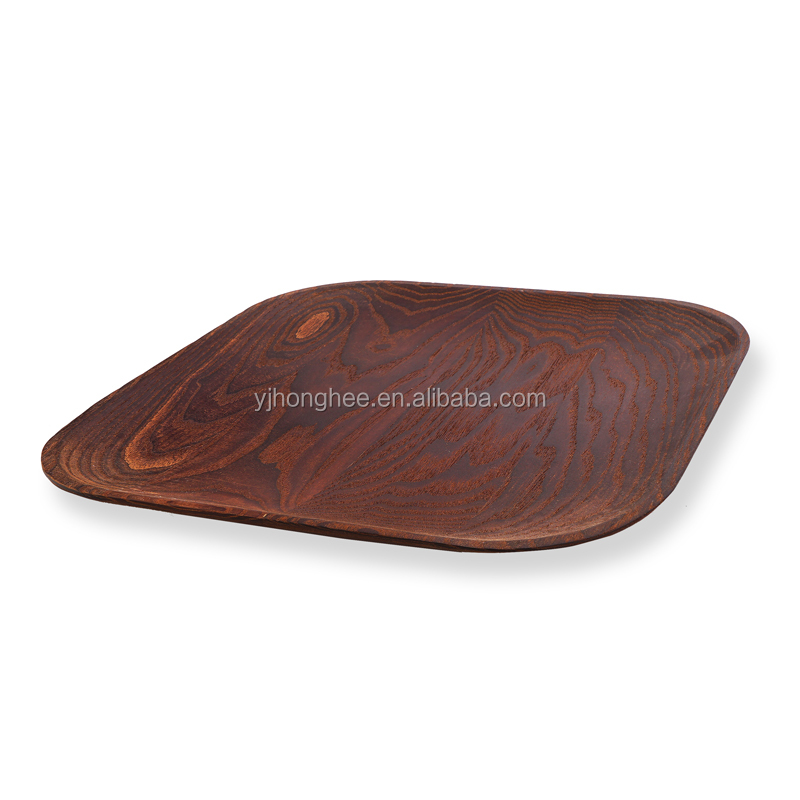 Kitchenware 10-Inch European ash wood Square Plate Serving Tray